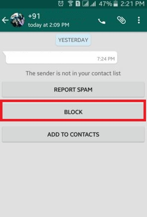 How to block WhatsApp contact android, lollipop