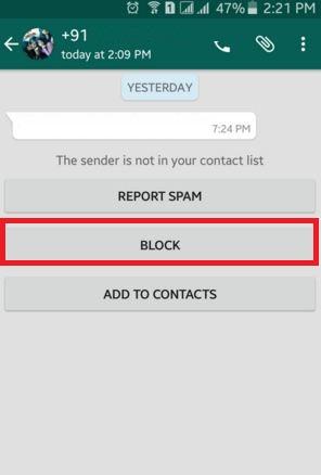 whatsapp block contact