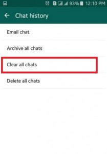 How to clear WhatsApp data in android