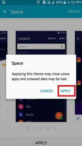 Re confirm apply button to change themes on andorid