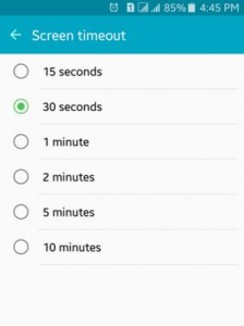 Set Minimal Screen time out to save battery on android
