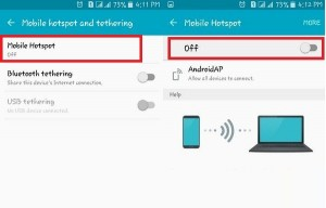 Tap On Mobile Hotspot