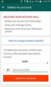 delete WhatsApp account on android