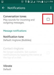 How to turn off conversation tone in WhatsApp on android