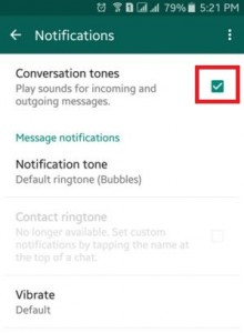 turn off conversation tone in WhatsApp on android