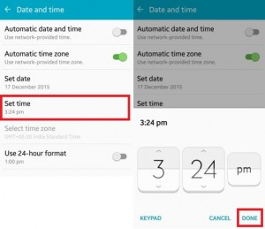 How to set date and time on android lollipop (5.1.1)