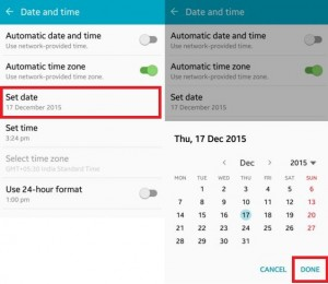 How to set date on android lollipop