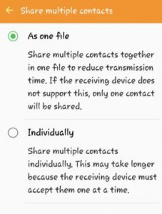 How to share multiple contacts on android