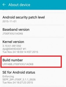 Tap on build number