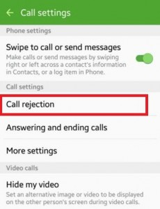 Tap on call rejection under call settings