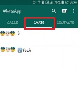 Tap on chat screen on Android