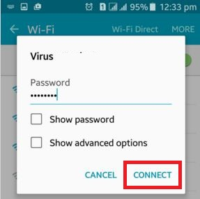 Tap on connect on android