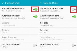 Turn on automatic date and time on android