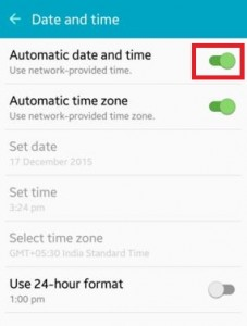 Turn on automatic date and time update on android