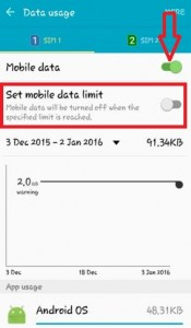 turn on mobile data on android lollipop