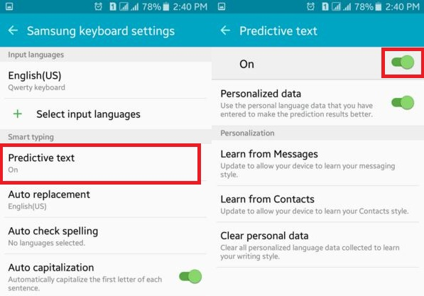 How to turn off predictive text on marshmallow, android 6 0