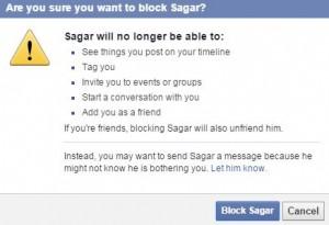 Block someone on facebook
