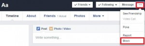 Block user on facebook using profile settings
