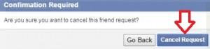 Cancel facebook request