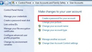 Create a password for your Windows 7 account