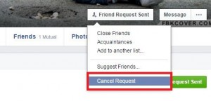 How to cancel send friend request on facebook