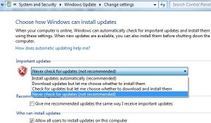 How to turn off auto update in Windows 7