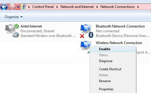 how to enable the network connection in windows 7