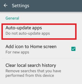 Tap on Auto update apps in settings