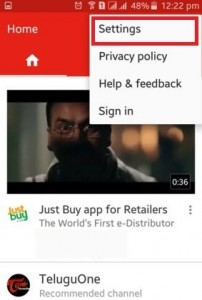 Tap on Settings of YouTube