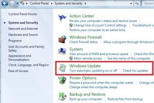 Tap on Windows update on Windows 7