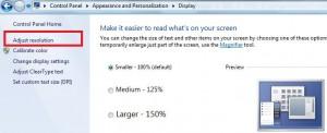 Tap on adjust screen resolution in top left side corner