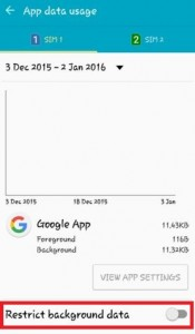 Tap on restrict background data
