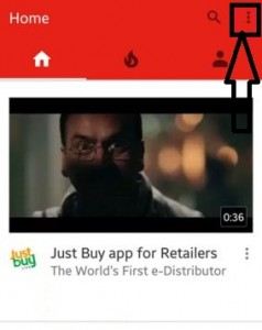 Tap on top right side corner on YouTube