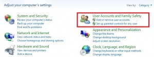 Tap on user accounts & family safety category