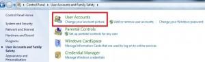 Tap on user accounts on Windows 7
