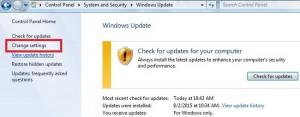 turn off auto update in Windows 7