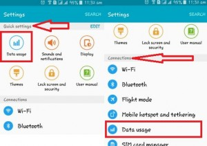 under quick settings tap on data usage
