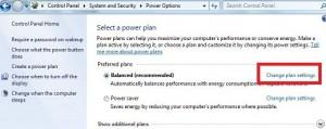 Change plan settings windows 7