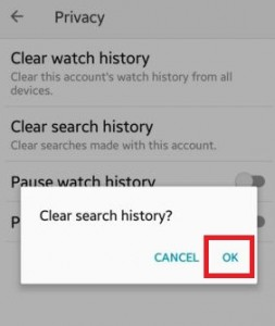 Clear search history android devie