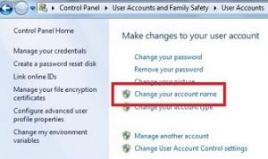 How to change account name windows 7