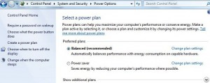 How to change power saving settings windows 7