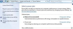 How to change power saving settings windows 7
