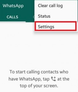 Select Settings option from list