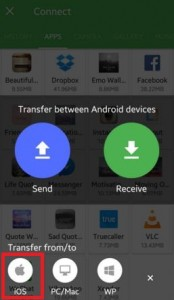 Tap on iOS icon to trnasfer file android