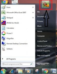 Tap on user account picture from start menu