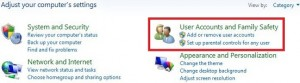 Tap on user accounts and family safety category