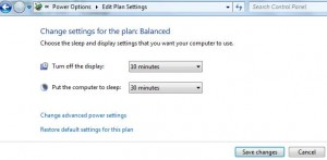 change power saving settings windows 7