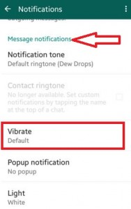 turn off vibration on WhatsApp android lollipop