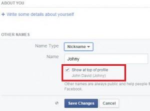 Change facebook account nickname