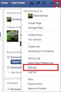 Tap on account settings of facebook